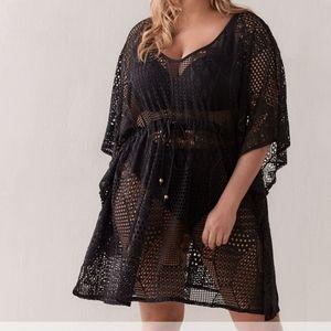 Sandy Bay Crochet Tunic Coverup Swim Black Boho